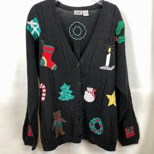 Vintage Christmas Holiday cardigan with 3D details